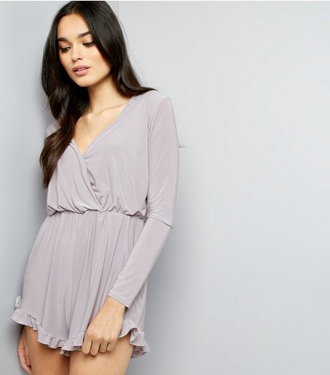 Pink Vanilla Grey Frill Trim Wrap Front Playsuit | New Look