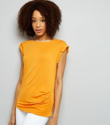Orange Ruched Side Roll Sleeve Top