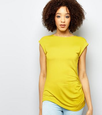 Yellow Ruched Side Roll Sleeve Top