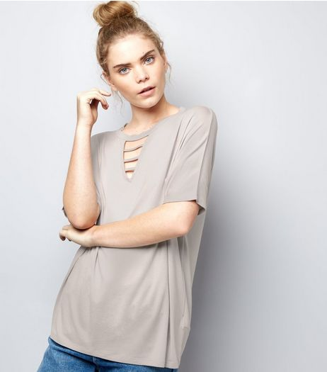 Pale Grey Ladder Front T-Shirt | New Look