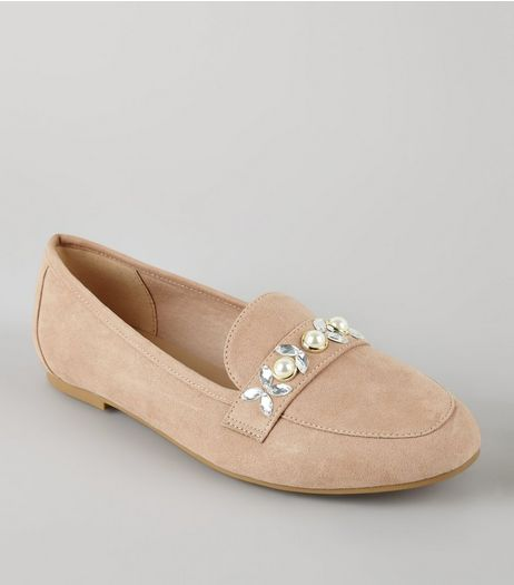 Cream Suedette Embellished Loafers | New Look