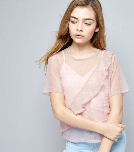 Teens Pink Spot Print Frill Trim Mesh Cropped T-Shirt | New Look
