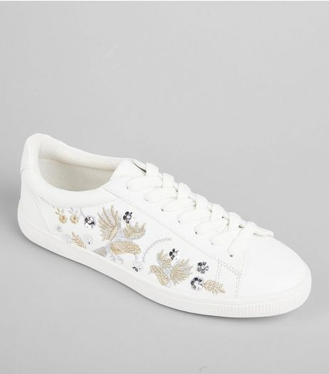 White Bird Embroidered Lace Up Trainers | New Look