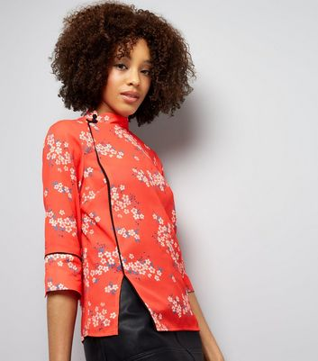 Red Floral Print Button Side Mandarin Collar Top