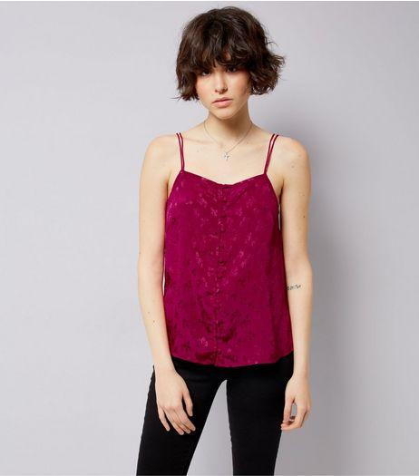 Deep Pink Floral Jacquard Button Front Cami | New Look