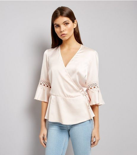 Shell Pink Sateen Crochet Trim Wrap Top | New Look