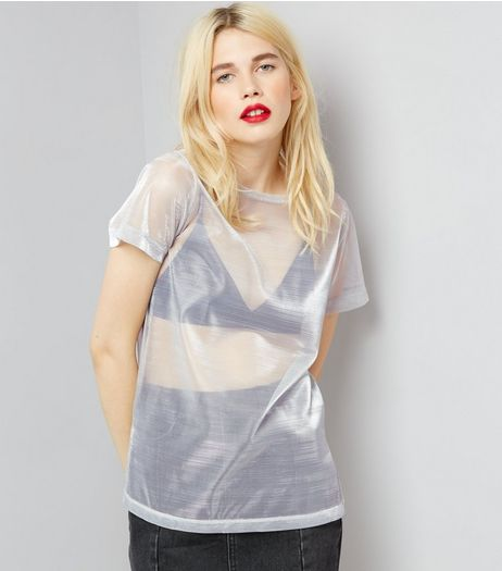 Silver Metallic Mesh T-Shirt | New Look