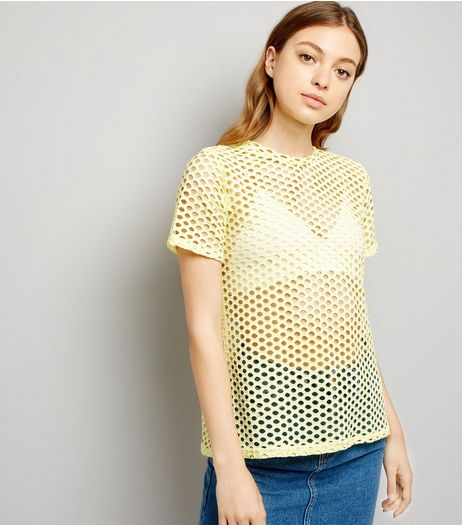 Yellow Fishnet Oversized T-Shirt  | New Look