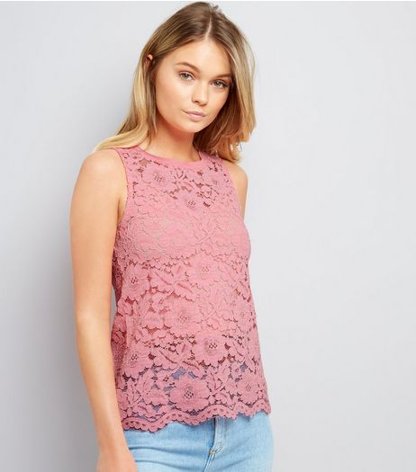 Pink Floral Lace Top | New Look