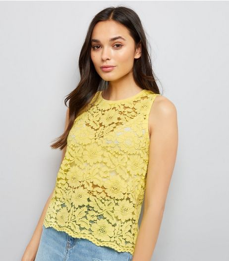 Yellow Floral Lace Top | New Look