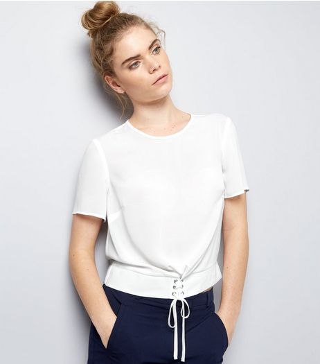White Corset Hem T-Shirt  | New Look
