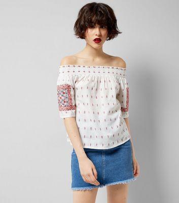 White Embroidered Bardot Neck Top