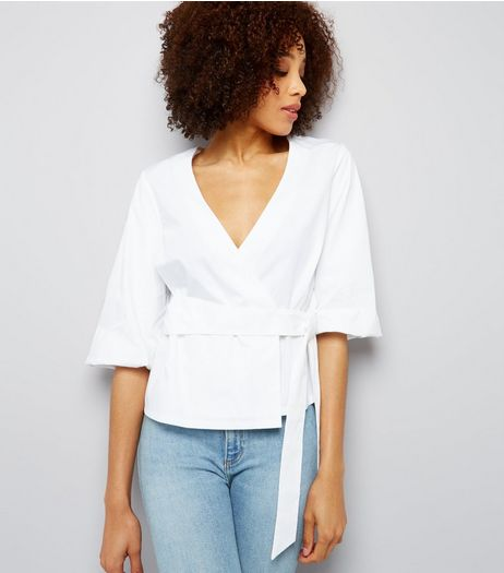 White V Neck Tie Waist Wrap Top | New Look