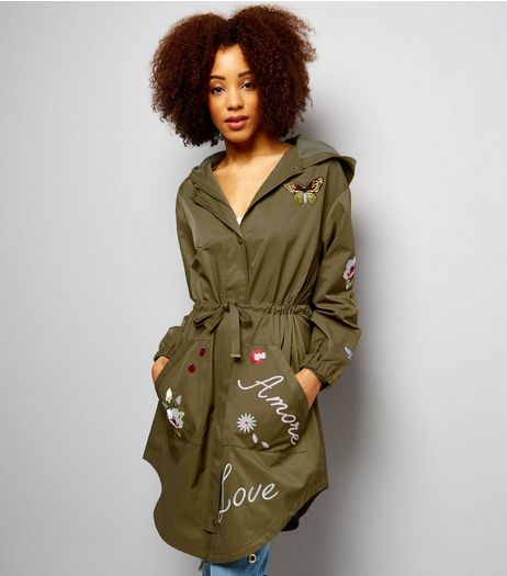 Anita and Green Khaki Embroidered Parka  | New Look