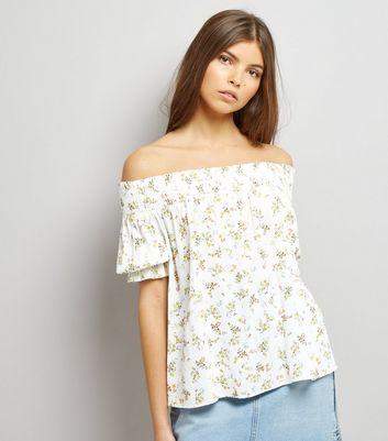 White Floral Print Shirred Bardot Top