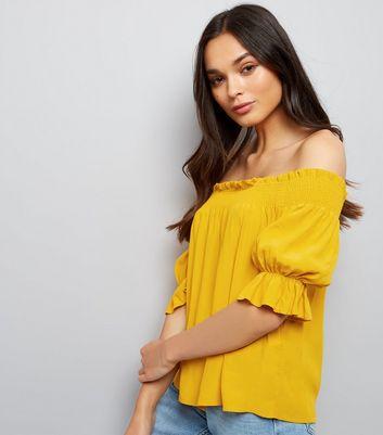 Yellow Shirred Bardot Top