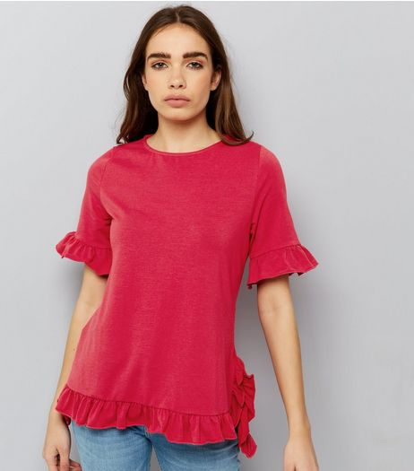 Anita and Green Pink Frill Trim Sleeve Top | New Look