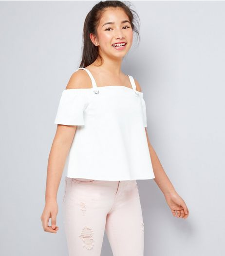 Teens White Eyelet Strap Cold Shoulder Top | New Look