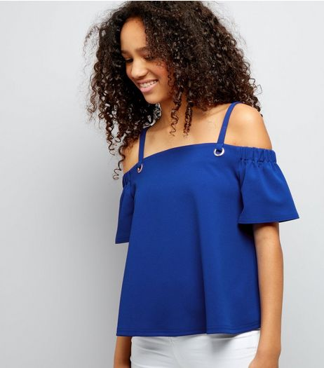 Teens Blue Eyelet Strap Cold Shoulder Crop Top | New Look