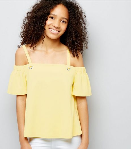 Teens Yellow Eyelet Strap Cold Shoulder Crop Top | New Look