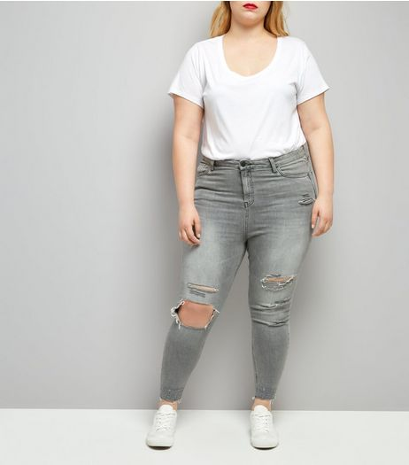Curves Grey Ripped Skinny Jeans | New Look