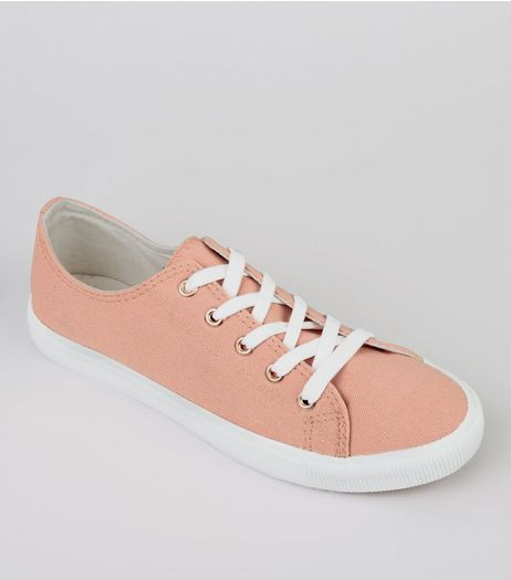 Pink Canvas Lace Up Trainers | New Look