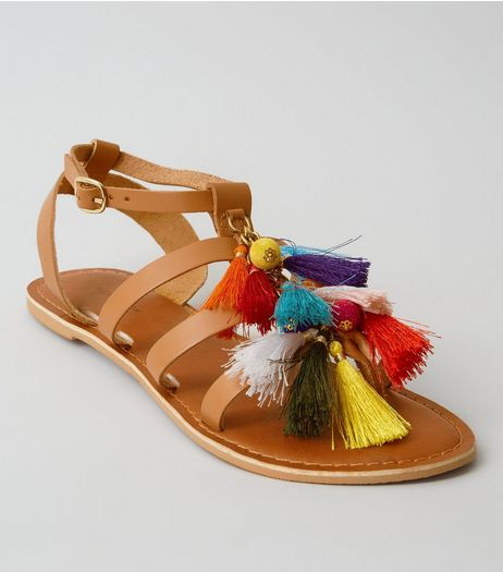 Tan Leather Multi Tassel Gladiator Sandals | New Look