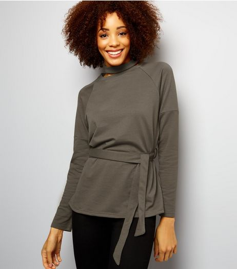 Anita and Green Khaki Tie Waist Top | New Look