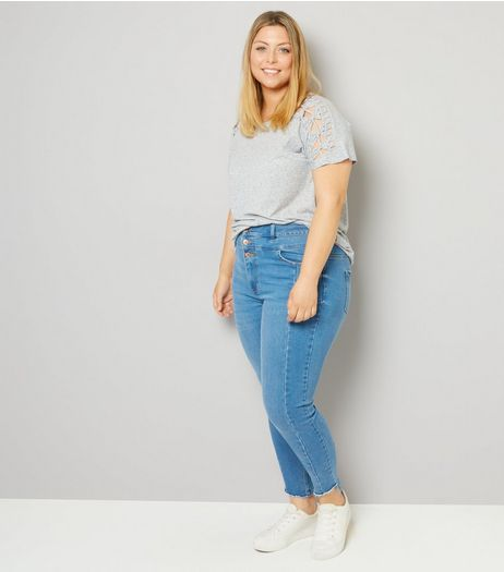 Curves Blue High Waist Seam Detail Skinny Jeans | New Look