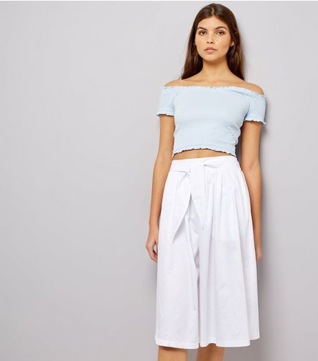 White Tie Waist Midi Skirt  | New Look
