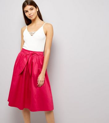Pink Tie Waist Midi Skirt
