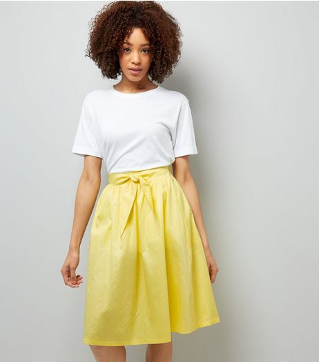 Yellow Tie Waist Midi Skirt | New Look