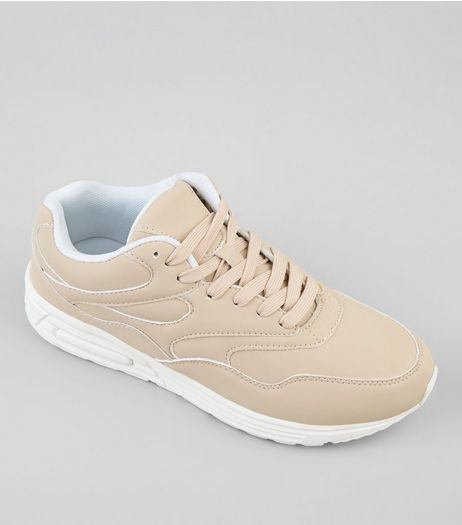 Cream Seam Trim Suedette Trainers | New Look