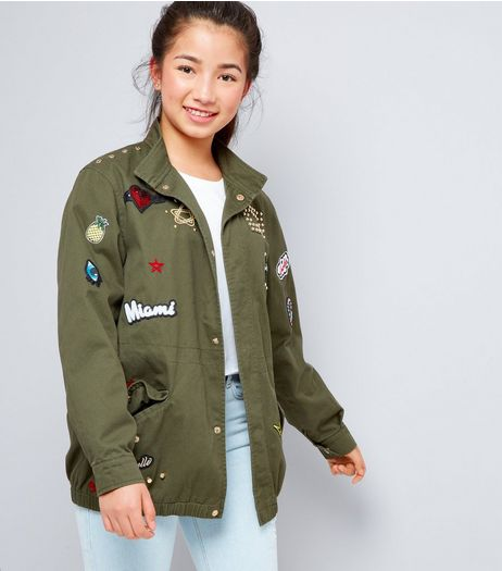 Teens Khaki Badge Detail Jacket | New Look