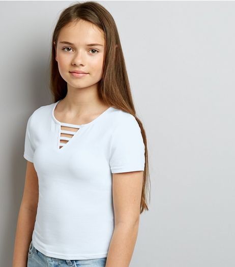 Teens White Lattice Front T-Shirt | New Look