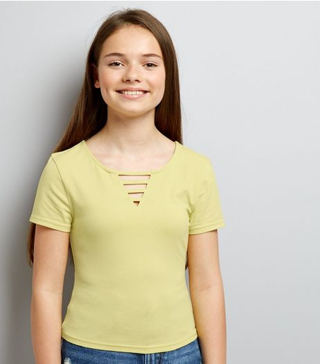 Teens Yellow Lattice Front T-Shirt | New Look
