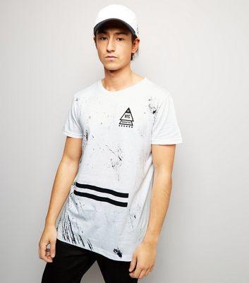 White NYC Scratch Print T-Shirt