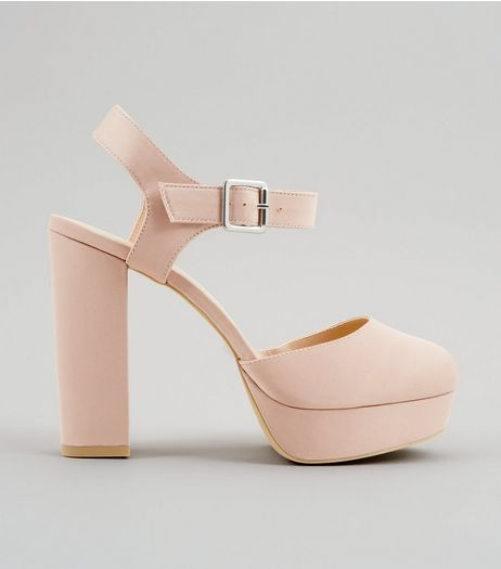 Wide Fit Pink Satin Platform Heels | New Look
