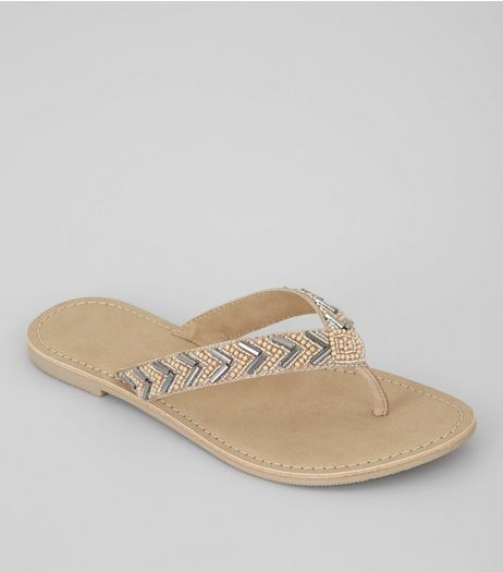 Wide Fit Nude Pink Suede Embellished Flip Flops | New Look