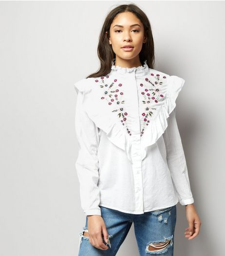 White Floral Embroidered Frill Trim Shirt  | New Look