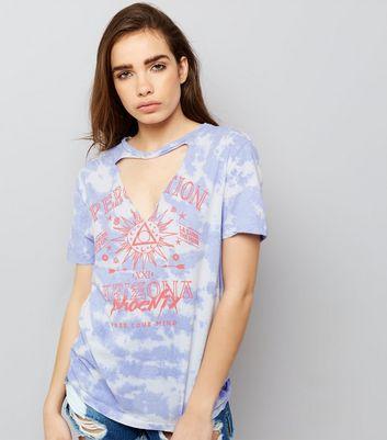 White Tie Dye Choker Neck Rock T-Shirt