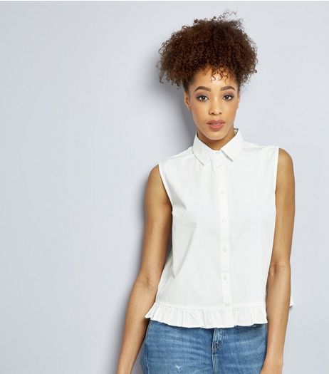 White Frill Hem Sleeveless Shirt  | New Look