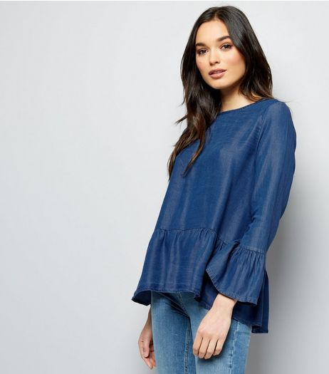 Cameo Rose Blue Frill Trim Button Back Top  | New Look
