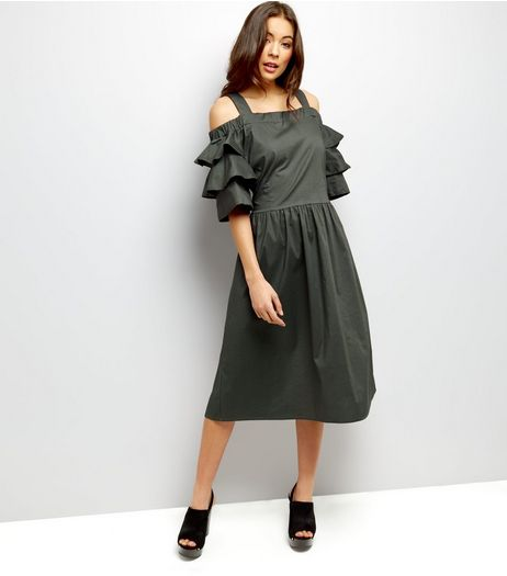 Loving This Khaki Frill Trim Sleeve Dress   | New Look