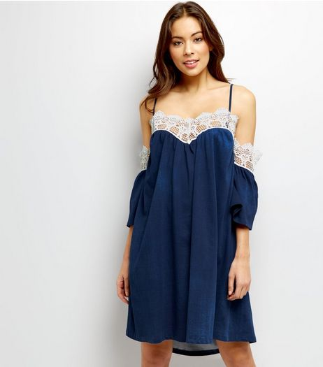 Loving This Blue Crochet Lace Trim Cold Shoulder Dress | New Look