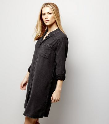Black Washed Shirt Dress