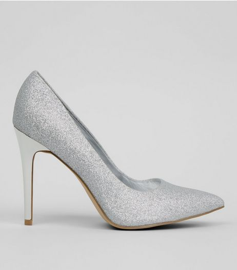 Wide Fit Silver Glitter Pointed Court Heels | New Look