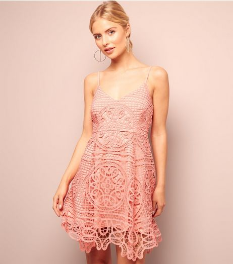 Coral Ornate Lace Skater Dress | New Look