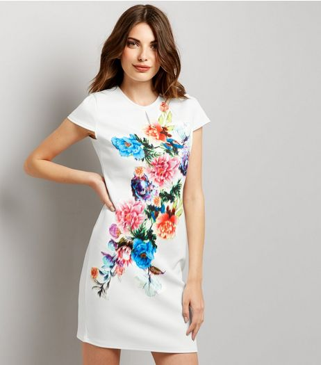 Blue Vanilla White Floral Print Short Sleeve Dress  | New Look