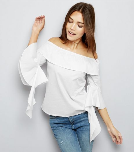Cameo Rose White Bardot Neck Tie Sleeve Top  | New Look